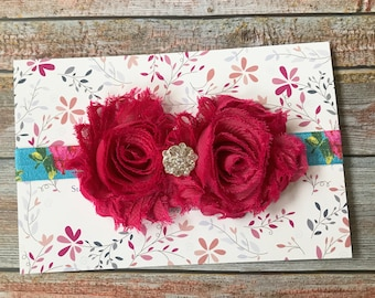 Dark Pink Headband, Floral Headband, Baby Headband, Spring Headband, Baby Girl Headband, Infant Headband, Newborn Headband, Baby Hair Bow