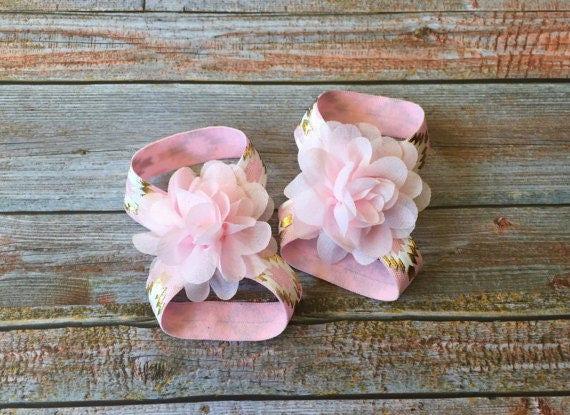Pink & Gold Barefoot SandalsPink and Gold BirthdayBirthday ShoesPink Baby Barefoot SandalBaby SandalsBaby ShoesCake SmashNewborn Shoe