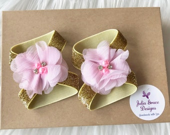 Pink & Gold Barefoot Sandals, Baby Barefoot Sandal, Barefoot Sandal, Newborn Sandal, Newborn Shoe, Baby Girl Sandal, Baby Shoe, Baby Sandal