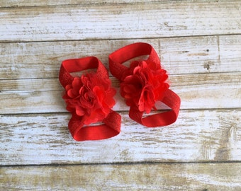 Red Barefoot Sandals, Baby Barefoot Sandals, Baby Shoes, Baby Girl Shoes, Newborn Shoes, Newborn Sandals, Baby Sandals, Baby Girl Sandals