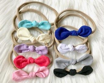 PICK 3 Nylon Knot Bow Headbands, Baby Headband, Nylon Headband, Newborn Headband, Baby Headband, Baby Bow, Headband Set, Nylon Baby Bow