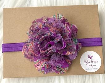 Purple Headband, Purple Baby Headband, Paisley Headband, Baby Headband, Infant Headband, Baby Girl Headband, Newborn Headband, Girl Headband