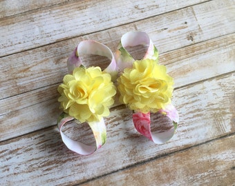 Yellow Barefoot Sandals, Baby Barefoot Sandals, Baby Girl Sandals, Baby Girl Shoes, Newborn Shoes, Newborn Sandals, Baby Shoes, Baby Sandals