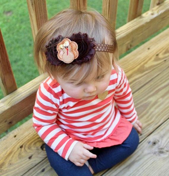 Fall Bow Headband Thanksgiving Bow Headband Turkey Bow Headband Baby Thanksgiving Headband