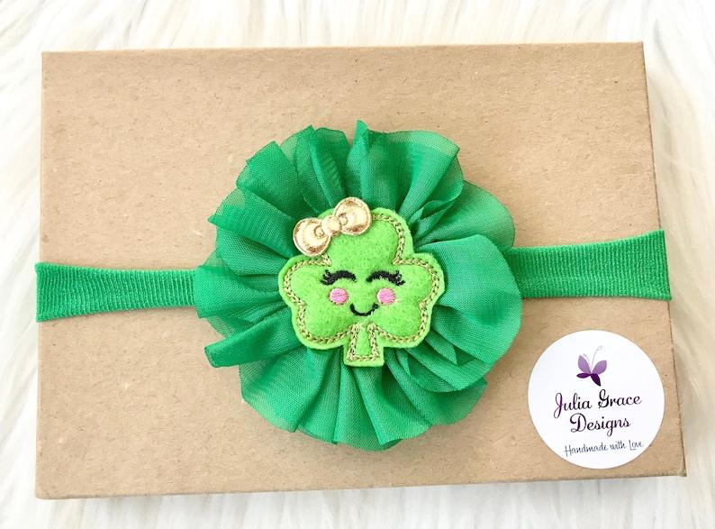 Nylon Headband Newborn Headband Nylon St Patricks Day Headband Baby Headband St Patricks Hair Bow Baby Hairbow Infant Headband Bow