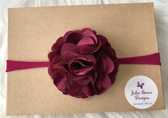 PREEMIE HANDMADE HEADBANDS  PRETTY TRIPLE FLOWERS  TINY BABE  FOE WHITE /&LILAC