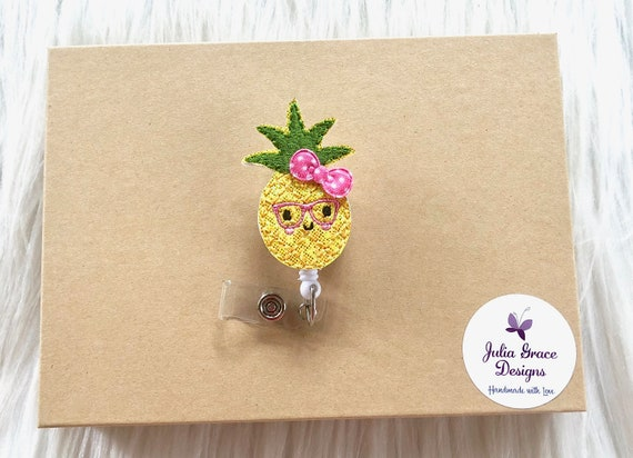 Colorful Pineapples Pattern Retractable Reel Chrome Badge ID Card Holder Clip