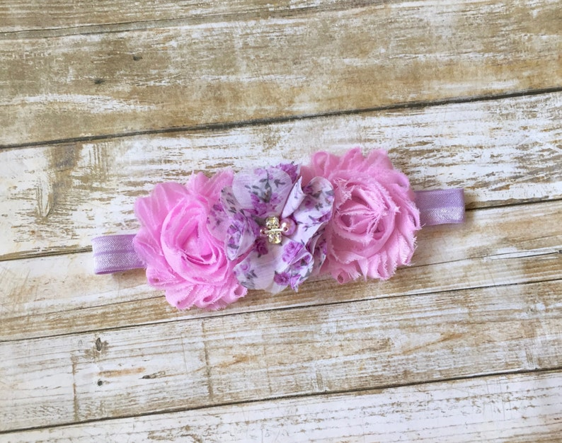 Baby Lavender and Pink Headband Infant Headband Newborn Headband Lavender Headband Baby Headband Easter Headband Baby Girl Headband