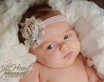 Pink Headband, Pink Baby Headband, Baby Headband, Newborn Headband, Baby Girl Headband, Shabby Headband, Infant Headband, Premie Headband