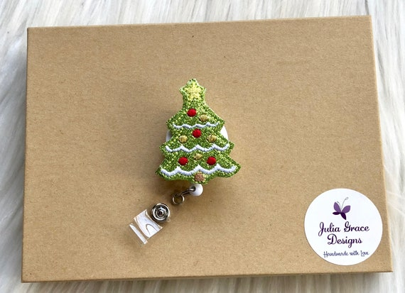 Christmas Nurse Badge Reel Christmas Tree Glitter Badge Reel Holiday Badge Reel Winter Badge Reel Christmas Badge Reel