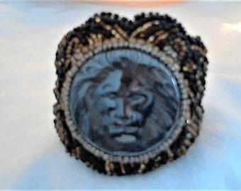 Jungle King,Animal themed Bracelet,Lion Bead Embroidery,Black Gold Bead Bracelet,Hematite Stone Bracelet,Hematite Jewelry,Animal Jewelry