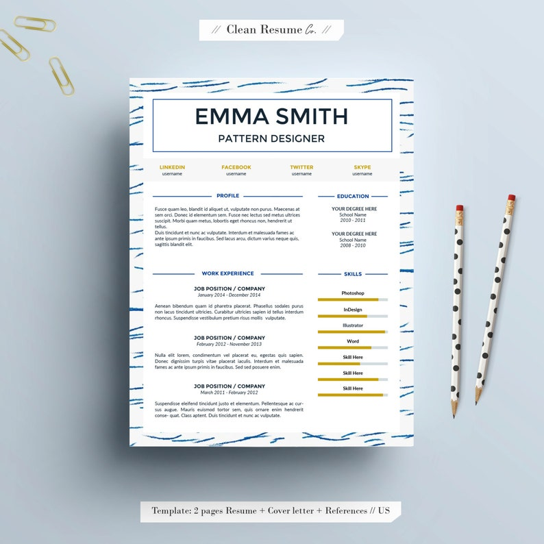 Resume Template, US letter, A4, CV Template, Cover Letter for Word, Instant  digital Download, Creative resume, Simple, Modern // Sea