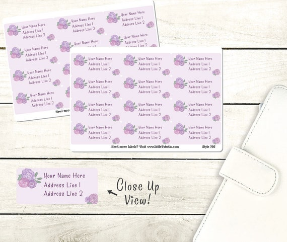 printed customized return address labels purple rose style etsy