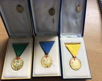 A Set of 3 Hungarian Blood Donor Medals, 30, 40 & 50 donations