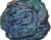 10 yards Blue Aqua shades Recycled Sari Silk Ribbon Yarn, Upcycled, Bulky, Crochet, Knit, Jewelry, Craft, Weave