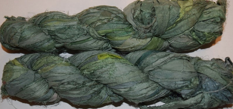 Weave Jewelry 10 yards Soft Olive Recycled Sari Silk Ribbon Yarn Upcycled Crochet Craft Knit Sari Silk Tassel Necklace