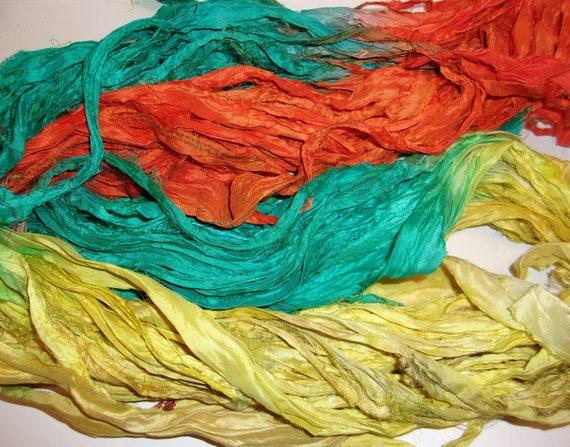 10 Yards Indian Red Recycled Sari Silk Ribbon Yarn