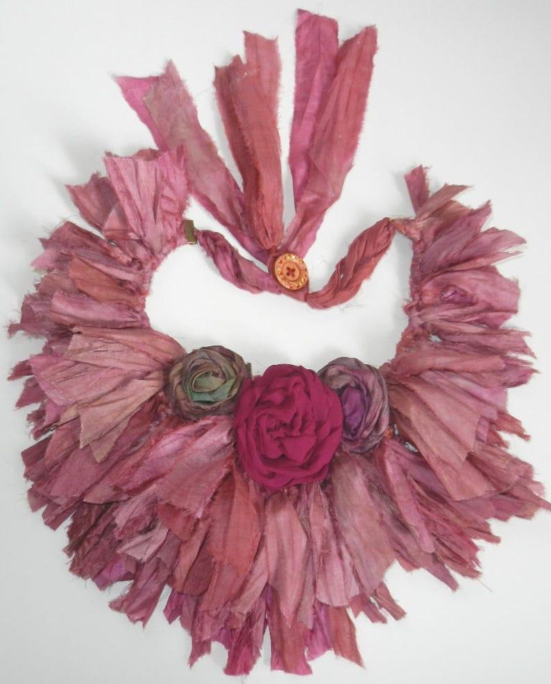 10 yards  fancy mulri Recycled Sari Silk Ribbon Yarn Upcycled Silk Ribbon Tassel Ribbon