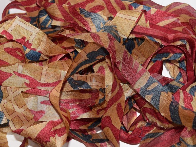 Silk Ribbon 10 yards   Brown Print #2 Recycled Sari Silk Ribbon Yarn Upcycled