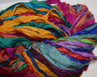 10 yards  Bright multi Recycled Sari Silk Ribbon Yarn, Upcycled,  Silk Ribbon