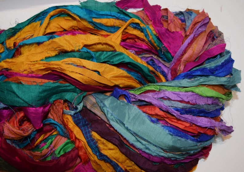 10 yards  Bright multi Recycled Sari Silk Ribbon Yarn image 0