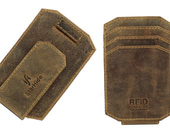 Mens RFID BLOCKING Real Distressed Leather Strong Magnet Money Clip Cardholder Minimalist Slim Thin Front Pocket Wallet Gift Boxed 725
