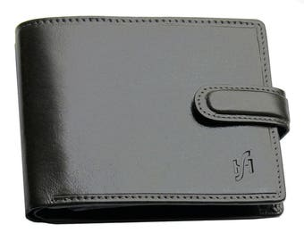 StarHide Mens black brown real italian leather wallet with coin pocket pouch and id window. Multi card holder 835