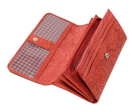 Starhide RFID Embossed Floral Women Purse Real Leather Wallet Best Gift 5580 Red
