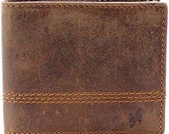 Starhide Mens RFID BLOCKING Distressed Brown Genuine Leather Bifold Wallet