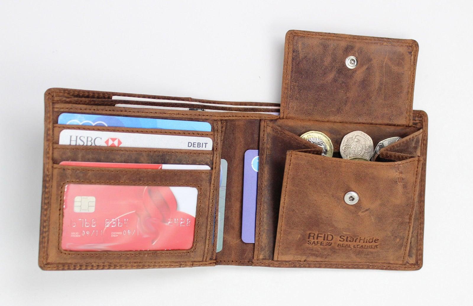b9f403f599c82 RFID BLOCKING Men s Real Distressed Hunter Leather Wallet