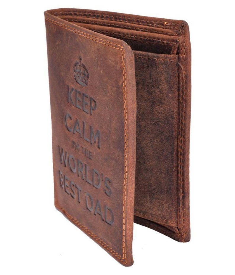 9035f1da99c6 Hand made wallet Keep Calm I'M The Worlds Best Dad Gents Brown Distressed  Hunter real Leather Wallet
