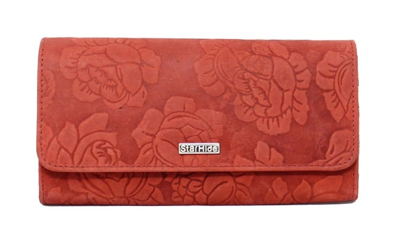New Starhide RFID Embossed Floral Women Purse Real Leather Wallet Best Gift 5585