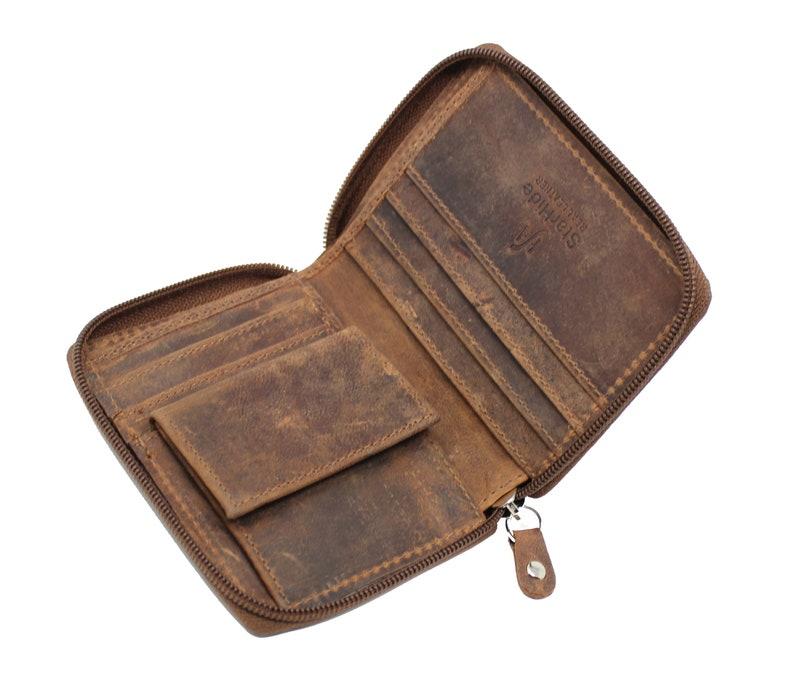 cb7f4a79cd5d Men's Designer RFID BLOCKING Wallet Distressed Hunter Vintage Leather Coin  Pocket Purse   Full Zip Around Wallet - 720 (Brown))