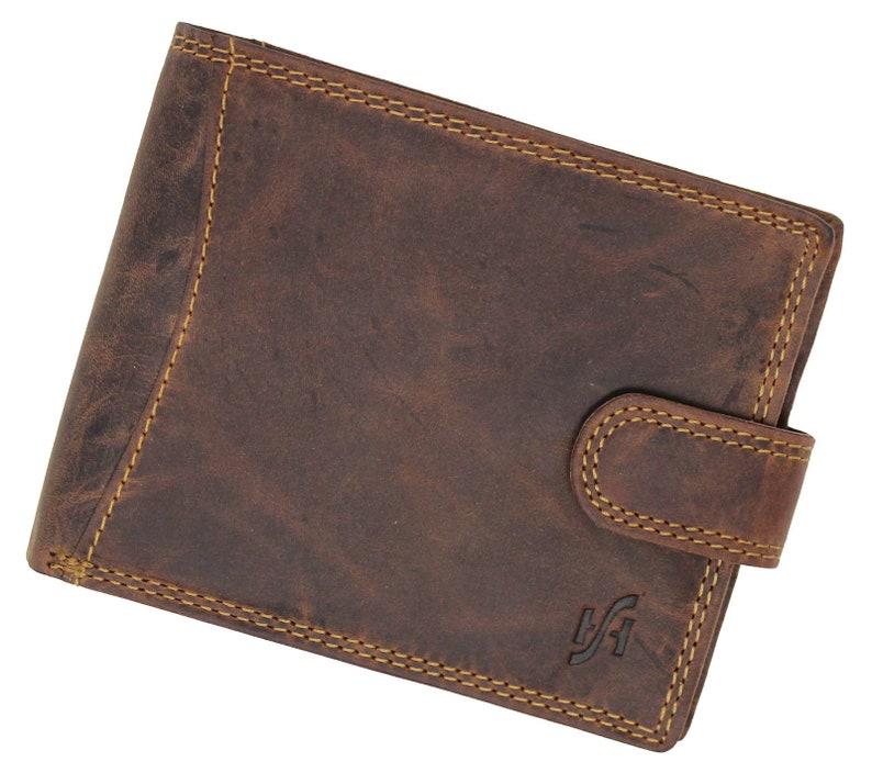 b256994c817c Men's Designer Wallet RFID Blocking Distressed Hunter Vintage Leather Coin  Pocket Purse Wallet Gift Boxed - 1065 (Brown)