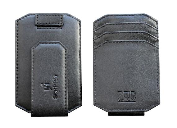 Mens RFID blocco vera pelle forte magnete soldi Clip titolare della carta tasca frontale sottile sottile minimalista portafoglio Gift Boxed 725