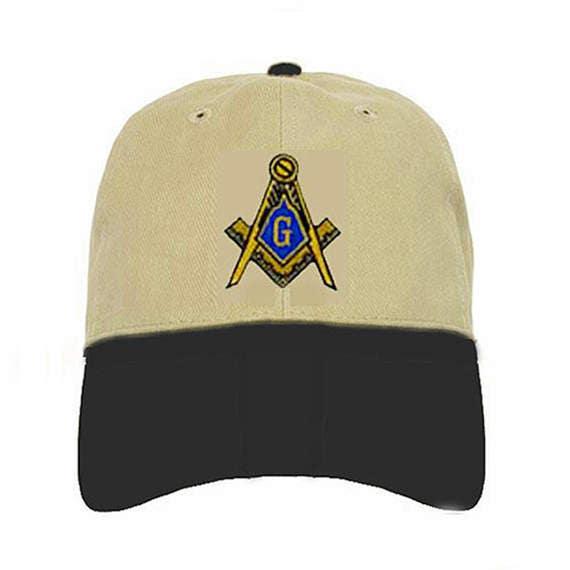 36f30d353b980 MASONIC HAT Tan with Black Brim Cloth Adjuster 23
