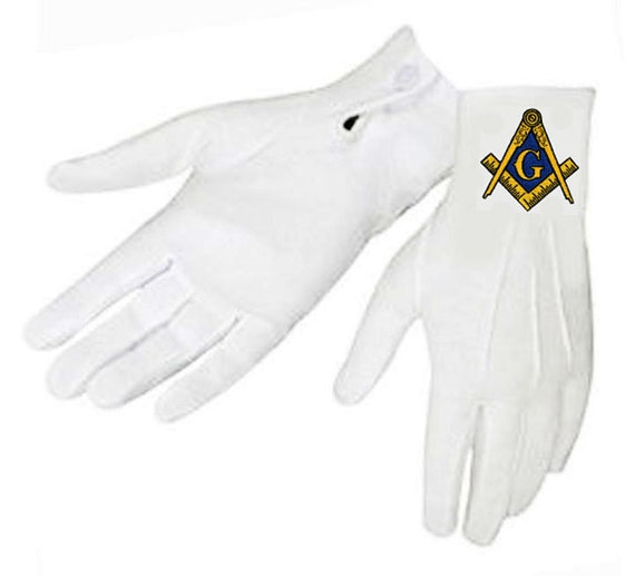 EMBROIDERED LOGO on NYLON FITS MED to XL PAST DISTRICT DEPUTY MASONIC GLOVES