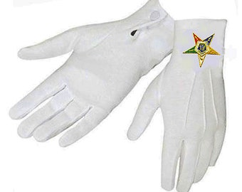 OES GLOVES * Eastern Star - Snap Wrist - Nylon with Embroidered Logo - Two Sizes fits Most