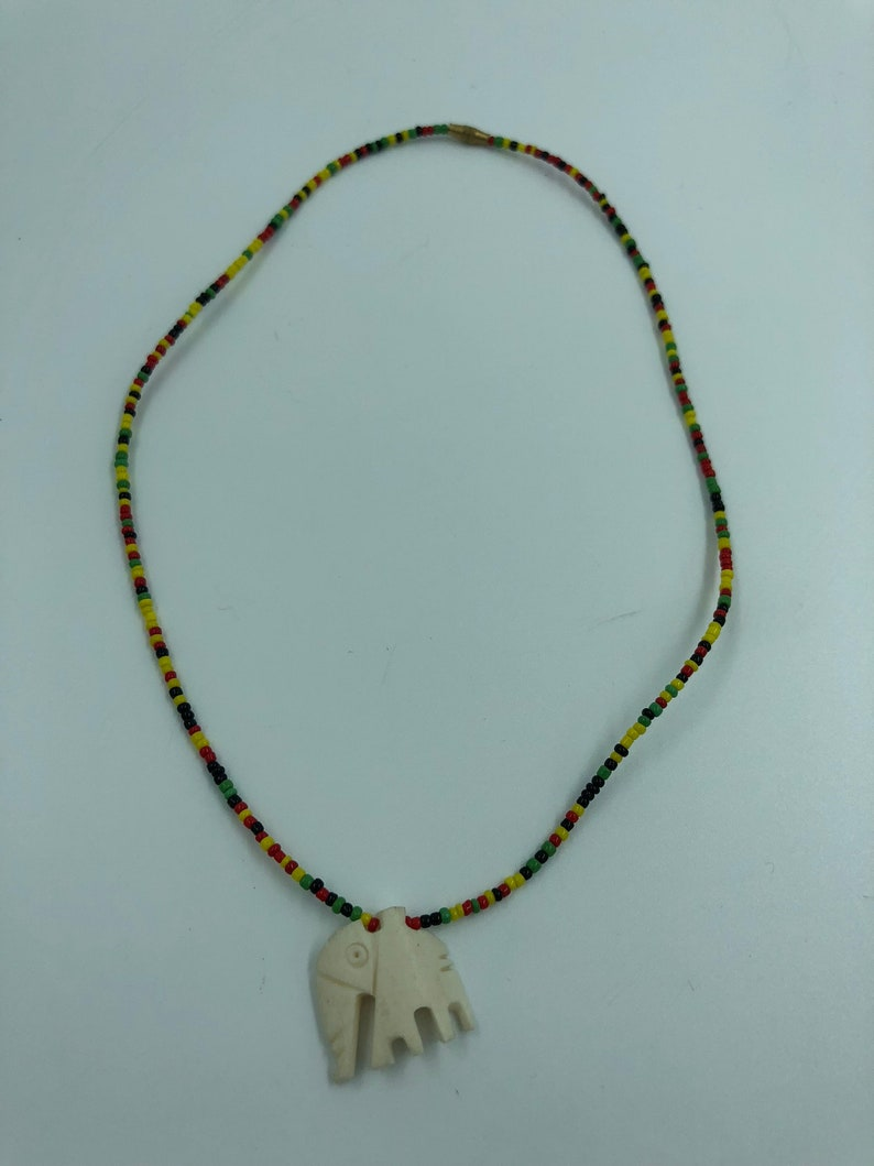 African Elephant /& Tooth Necklace Handmade