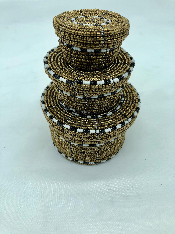 Set Of 3 2 Pink Maasai Beaded Jewelry Storage Jewelry Box Bedroom Decor Jewelry Set Storage Containers African Beaded Jewelry Organizer