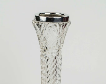 """7"""" Cut glass and silver bud vase"""