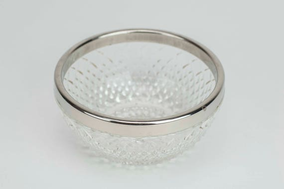 5 Cut glass bowl with silver trim