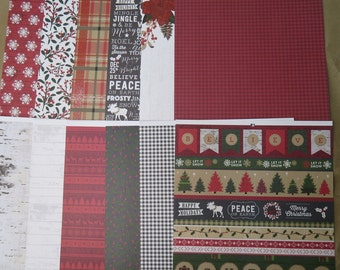 12 Sheets Cozy Cottage  12 X 12 Scrapbook Paper Vintage CHRISTMAS HOLIDAY Tree Crafting M