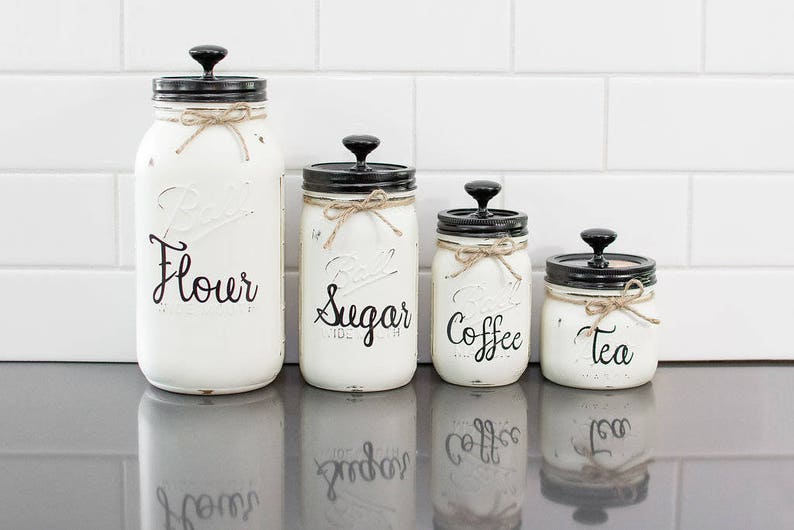 Set of 4 Mason Jar Canisters with Wording image 0