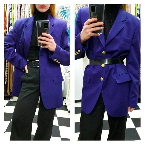 Deep purple oversized woolen blazer
