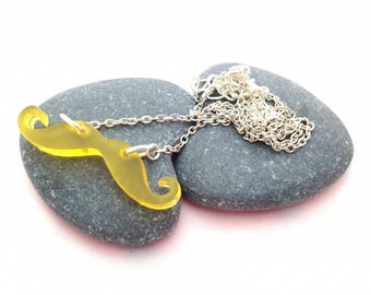 Yellow - silver mustache necklace