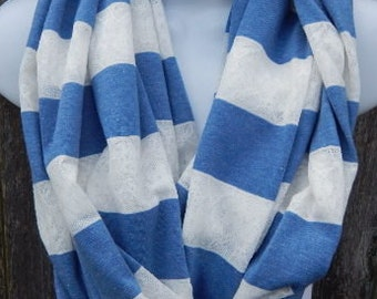 Blue and White Striped Jersey Knit Infinity Scarf