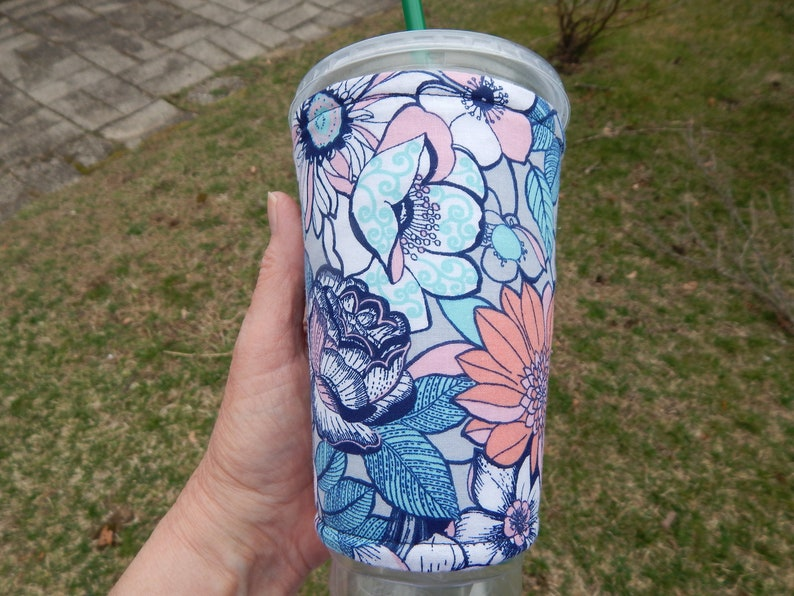 Floral Iced Coffee Cozy image 0