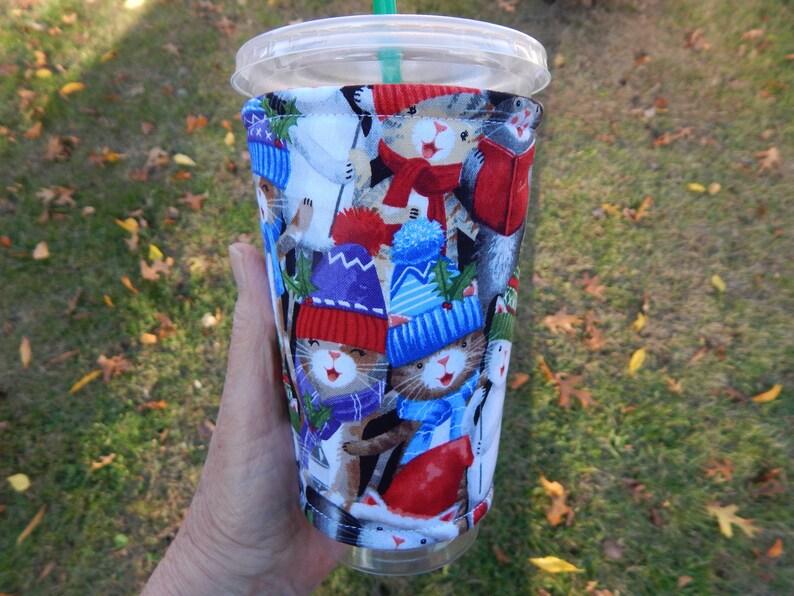 Caroling Cats Iced Coffee cozy image 0