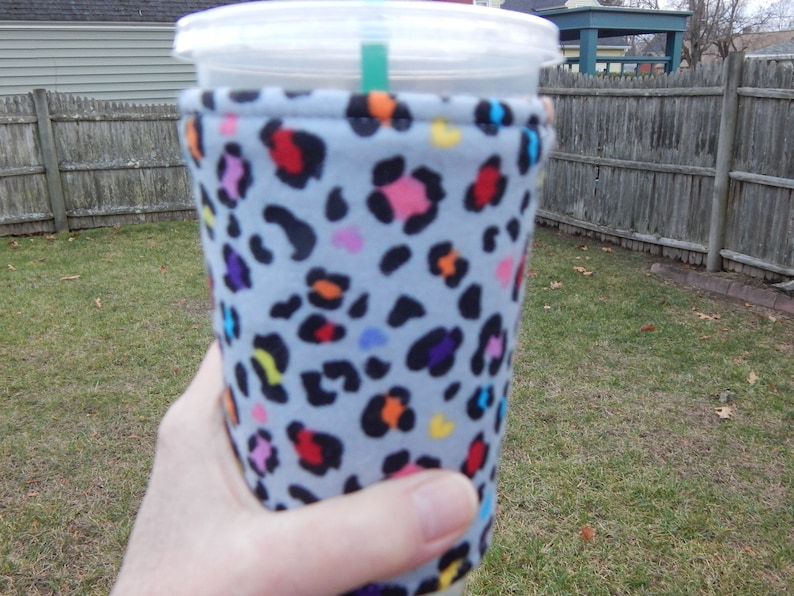 Flannel Multi Color Cheetah Iced Coffee Cozy image 0
